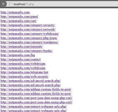 استخراج کل url های یک صفحه توسط php