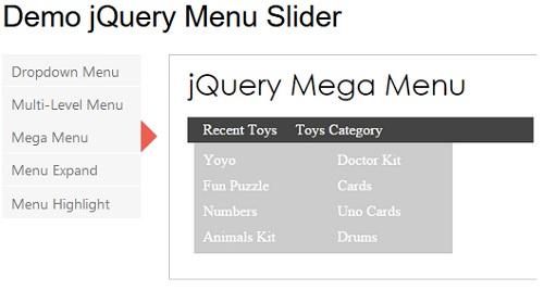 ساخت اسلایدر منو در jQuery